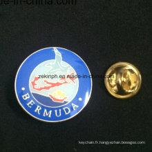 Insigne fait sur commande en gros de Pin d'émail de nom en métal avec l'époxyde