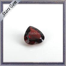 En forma de corazón Brilliant Cut Granate rojo natural del vino