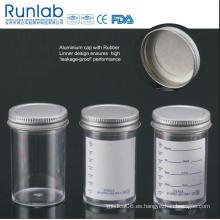 Envases de 100 ml aprobados por la FDA y la CE con tapa de revestimiento inerte de sello fluido de metal