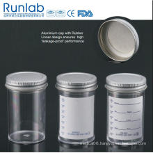 FDA and Ce Approved 100ml Containers with Metal Flowed Seal Inert Liner Cap