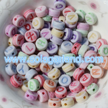 4X7MM Acrylic Coin Round Alphabet Letter Beads For Jewelry Making