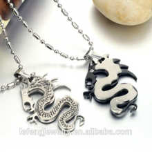 2016 Lucky jewelry 316L stainless steel dragon shape silver color couple necklace