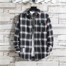 Plaid Shirt Men's Long-Sleeved Korean Loose Trend Hong Kong Style Handsome Japanese Couple Casual Jacket