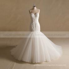 Nectarean Spaghetti Straps Sweet Heart Neckline Mermaid Lace Beaded Wedding Gown