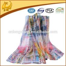 2015 Top Quality Design Fashion Style 100% Chiffon Custom Digital Printed Scarves