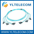 2.0mm OM3 fibra ottica Patch Cord 4 / 8 / 12 / 24 fibra MPO