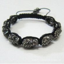 Black Skull Shamballa Bracelets Vente en gros Bracelet à la main Shamballa Crystal Ball BR69