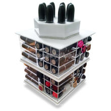 Wholesale Cosmetic Store Desktop Display 4-Way Pockets Lipstick Rotating Acrylic Lipstick Holder