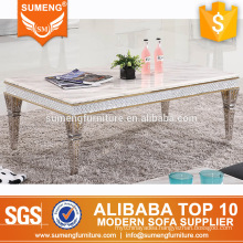 2017 hot selling marble coffee table marble stainless steel center tables