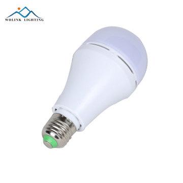 Luz de bulbo conduzida recarregável de alumínio morna da luz de emergência 5w 7w 9w 12w do ABS do branco E27