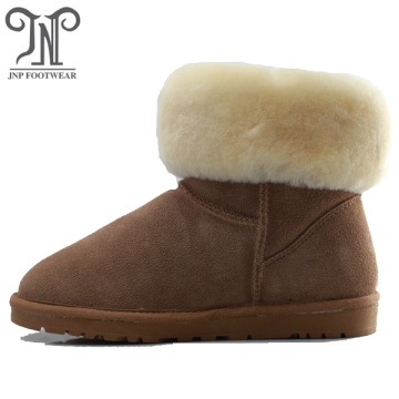Waterproof winter genuine leather furry boots with fringe