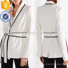 Горячая Продажа V-образным вырезом с длинным рукавом белый и черный Весна Wrap куртка Производство Оптовая продажа женской одежды (TA0010J)