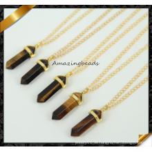 Natur Tiger Augen Anhänger Halskette Stein Punkt Anhänger Gold überzogene Kette Edelsteine Halskette (CN020)