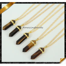 Nature Tiger Eye Pendant Necklace Stone Point Pendant Gold Plated Chain Gems Necklace (CN020)