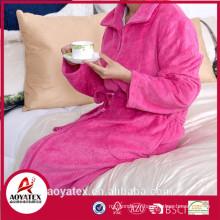 Cheap 100% polyester women's flannel fleece bathrobe