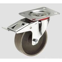 Roulette industrielle de roue de fer de bâti de 4inch avec le frein