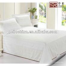 100% algodão tecido de malha de cetim macio branco Hotel usado folhas de cama de tamanho