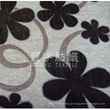 Tecido doméstico de chenille com padrão de flores para sofá