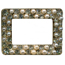 Pearl and Rhinestone Shoe Clips Hollows Rectangle