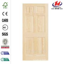 30 pulg. X 80 pulg. Panel de madera de 6 paneles no acabados Pino de puerta interior de pino