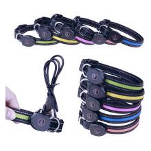 LED Coleira Para Animais de Estimação, USB Recarregável À Prova D 'Água Collar Reflexivo Gola Piscando Tamanho Ajustável Acender a Noite