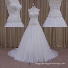 Drop Waist Line Cap Sleeve Wedding Dresses Made in China