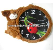 Regalos creativos promocionales y suaves del reloj del oso de la felpa para los niños