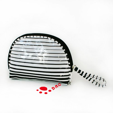 Stripe Line Shell Shape PU Cosmetic Bag