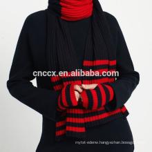 PK17ST106 Striped Cashmere Mittens red mittens