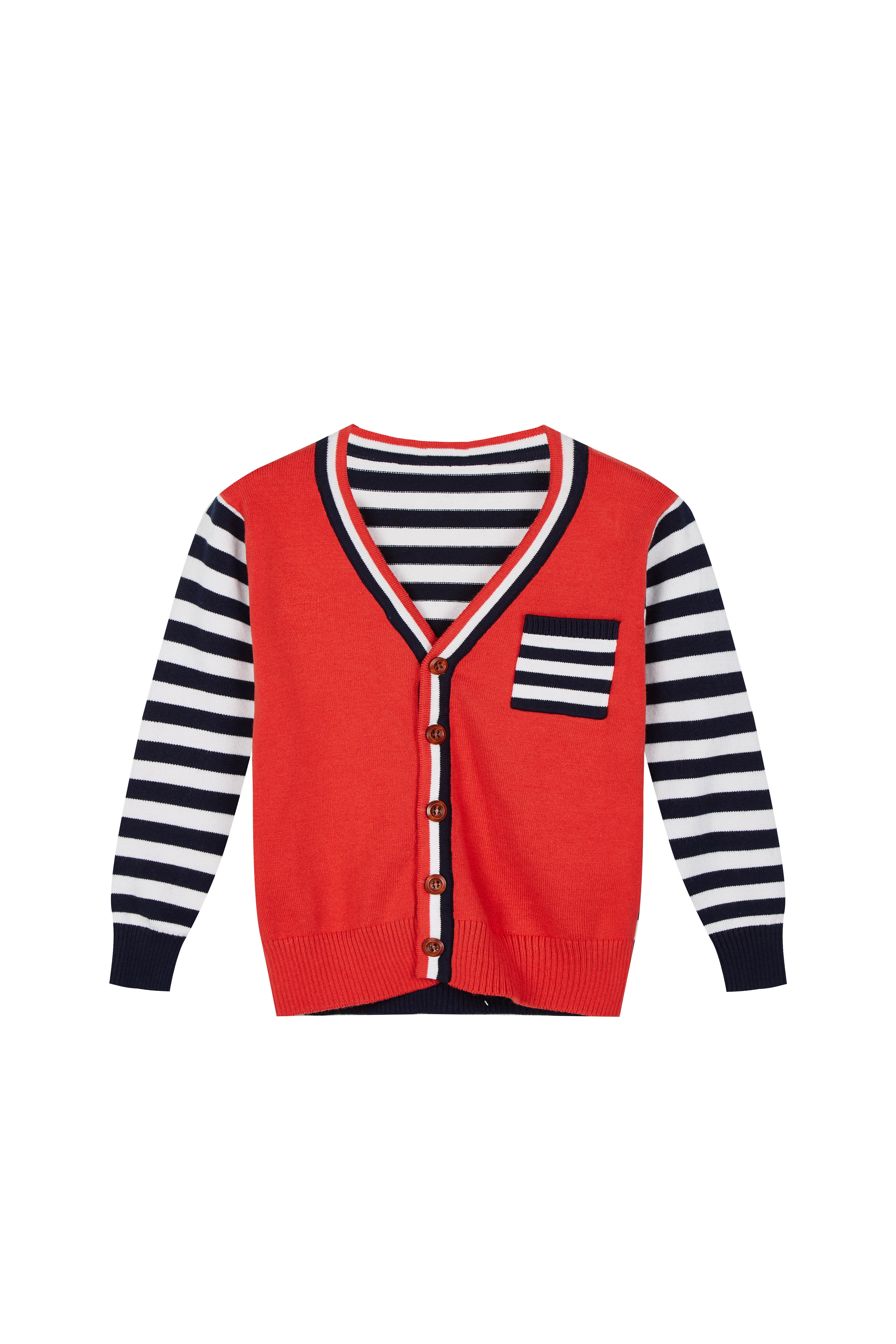 Boys's Stripe Knitted Cardigan Button Closure Long Sleeve Sweater Tops