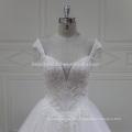 XFM008 hot sexy deep neckline with cap sleeves heavy bridal dress
