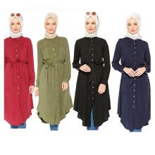 Fashion Women Middle models S-6XL maxi color block Wear Arab Girls Plus size long Islamic Clothing shirt blouse dress