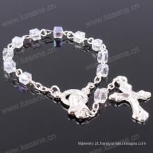 Transparente 4 milímetros quadrados cristal pérolas pulseira católica