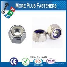 Fabricado en Taiwán M12-1.75 DIN 985 Grado A2 de acero inoxidable Nylon insertar tuerca de bloqueo
