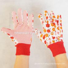 Gants de jardin femme avec des dots en PVC