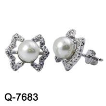 Pendientes de perlas de plata esterlina de diseño bonito 925