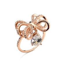 Роскошная Саудовская Аравия золото бриллиантовое обручальное кольцо цена блестящий лук подвеска алмаз обручальное кольцо