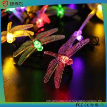 Luzes feericamente solares da corda do diodo emissor de luz da libélula para exterior