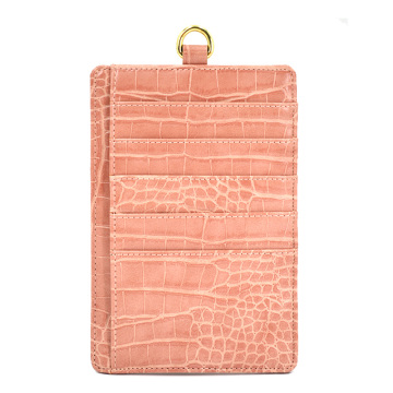 Card Holder with Strap Crocodile Leather Card Holder