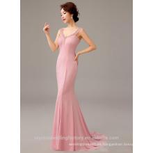 Alibaba Elegante largo nuevo diseñador de la manga del casquillo de color rosa satén sirena vestidos de noche o vestido de dama de honor con perlas LE32