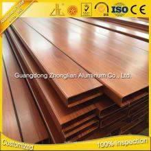 Profil en aluminium d'extrusion de grain en bois de qualité d'approvisionnement d'usine pour la décoration