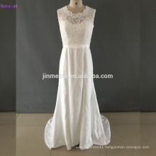 Free Shipping Satin Wedding Dresses Top Lace Bodice with Cap Sleeves Key Hole Back Zippered Bridal Gown