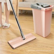 Microfiber Floor Metal Stick 360 Wash Cleaning Squeeze Magic and Plastic Bucket Flat Mop