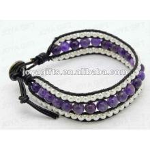 Amizade Ametista 8mm Ronda Beads Wrap Pulseiras