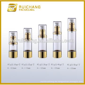 20ml / 25ml / 30ml / 40ml / 50ml Airless-Flasche, Aluminium kosmetische Airless-Flasche, kosmetische Airless-Flasche