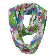 Женская мода цветок печатных полиэстер шифон бесконечность шарф лето (YKY1108)