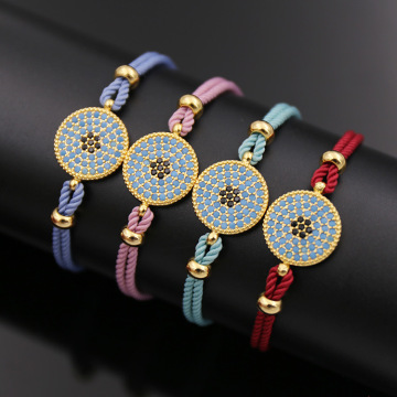 Brass Crystal Hanging Rope Jewelry Bracelet for Women