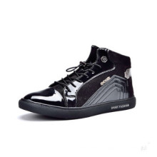 Black PU Patent Leather Men Shoes with Lace up (YN-25)