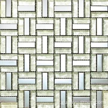 White Glass Block Mix Mosaic d'aluminium