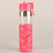 Красочная здоровая двойная стеновая стеклянная бутылка воды с силиконовым рукавом
